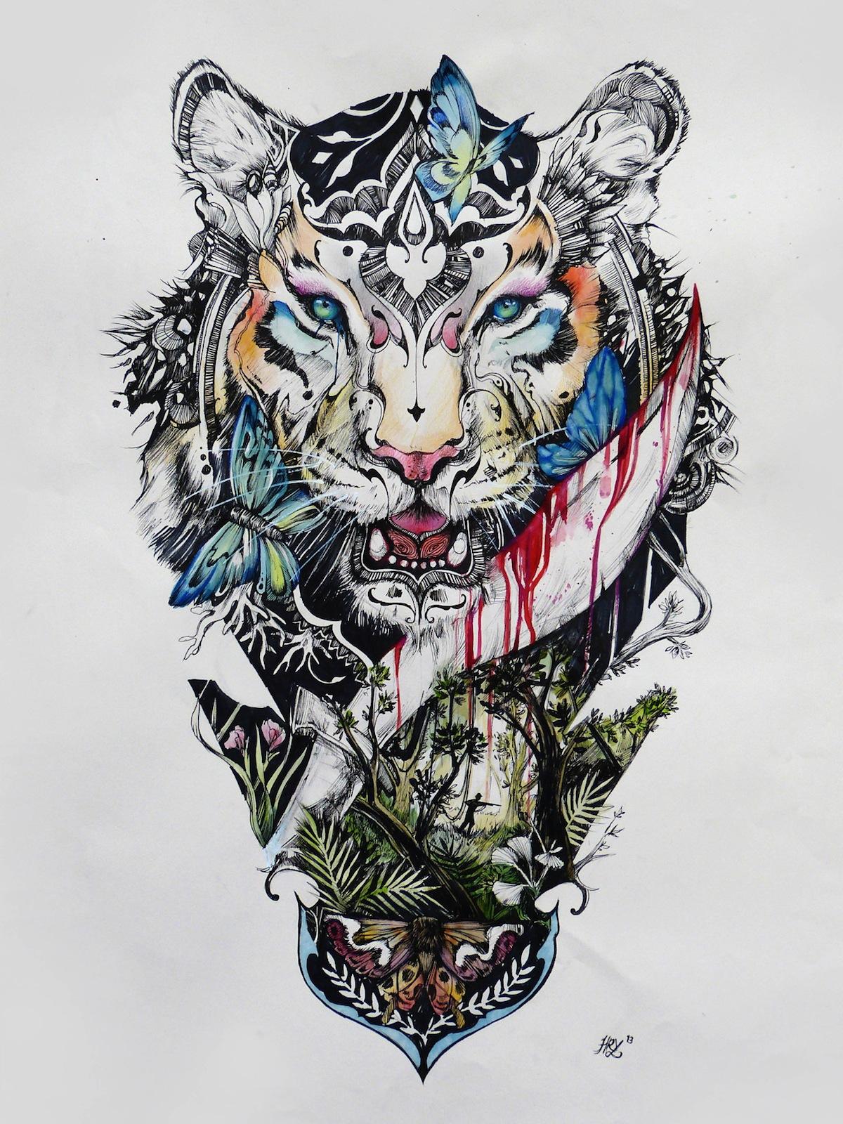 Эскизы тату с тигром и цветами