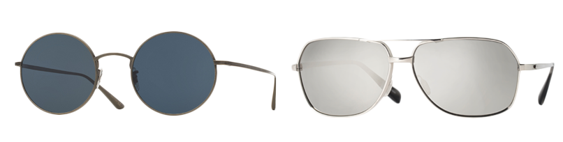 From left: After Midnight in Pewter and Blue / Chaser in Silver with White Platinum Polarized lenses