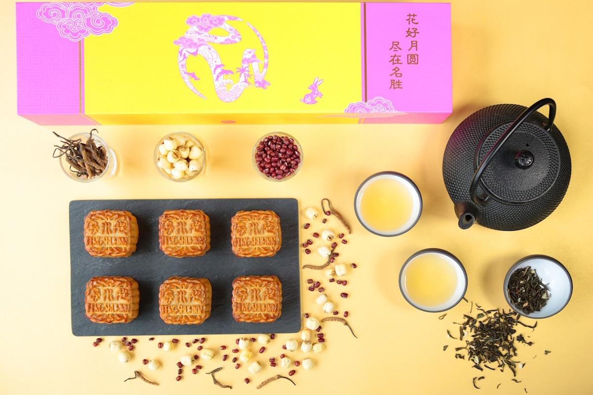 Feng Shui Inn - Resorts World Sentosa - Premium White Lotus Paste with Wild Cordycep, Pearl Powder & Red Bean Custard Mooncake_lo copy