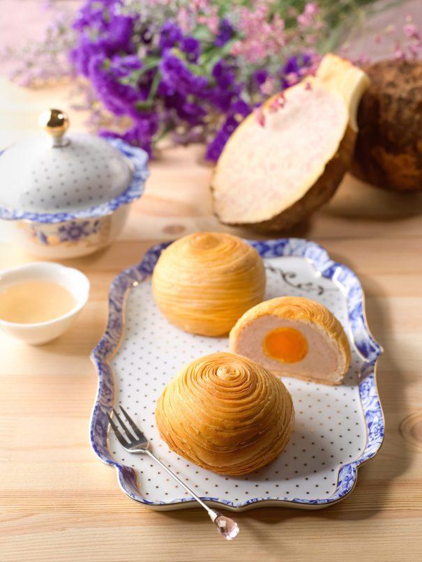 Li Bai Cantonese Restaurant - Sheraton Towers Singapore - Yam Paste Mooncake with Single Yolk in Flaky Pastry copy
