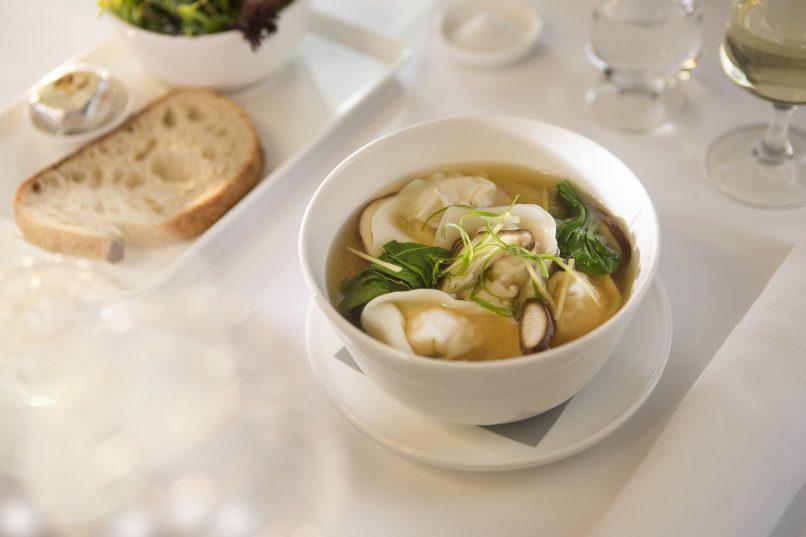 Chicken and shiitake wonton soup ex SIN Business menu