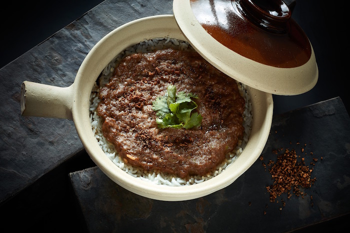 Claypot Rice with Minced Wagyu Beef with Tangerine Peel and Parsley