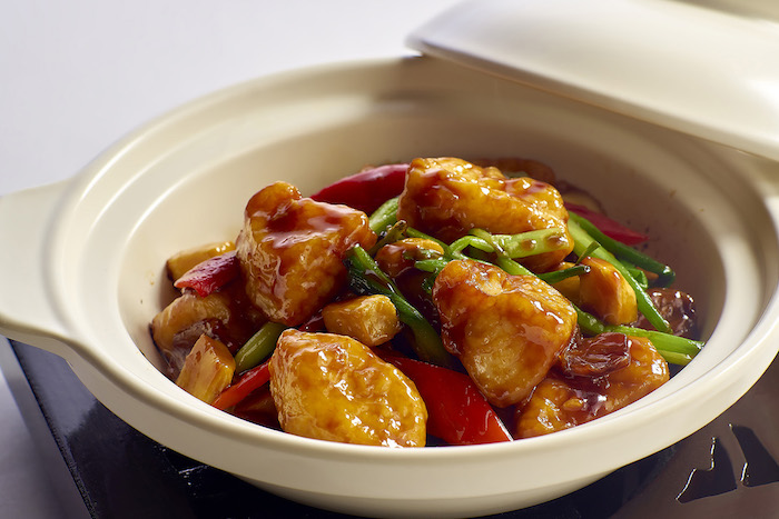 Braised cod fish fillet with rice wine and spicy sauce