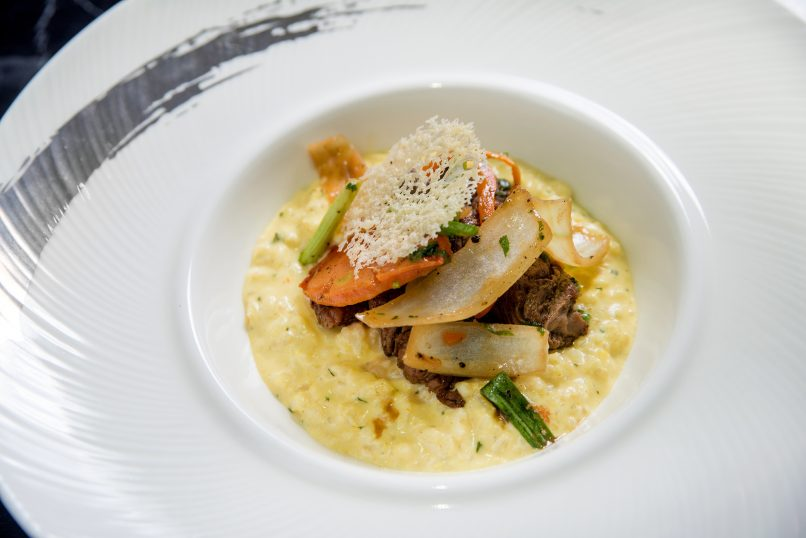 The risotto was made with Huancaína sauce and had a generous amount of marinated sirloin strips.