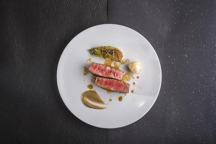 Charcoal Grilled Tenderloin with Komatsuna Puree and Braised Wagyu-Stuffed Onion2