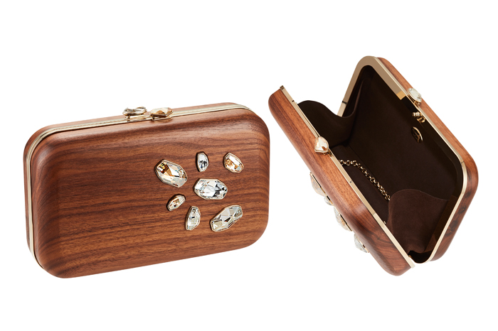 The 'Wood Crystallized' collection also includes Kotur's signature Espey clutch.