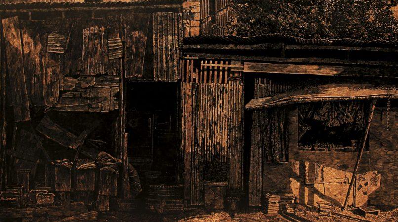 ARDEL - เทพพงษ์ หงษ์ศรีเมือง - Teppong Hongsrimuang, บ้าน ของคน สร้างบ้าน 1 - A House of House Builder No. 1, 2016, woodcut, 100 x 170 cm