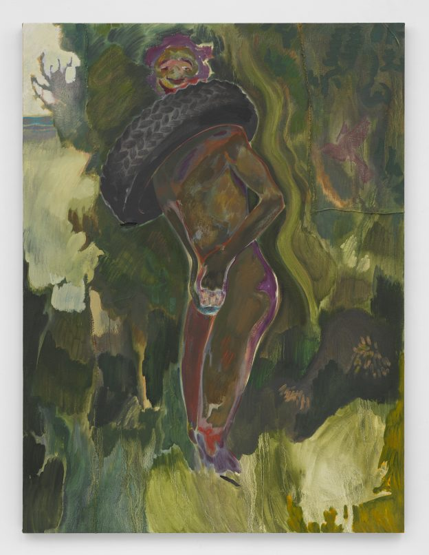 Michael Armitage Necklacing Year to be confirmed Oil on Lugubo bark cloth 78 3/4 x 59 1/16 in. (200 x 150 cm) © Michael Armitage. Photo © White Cube (Ben Westoby)