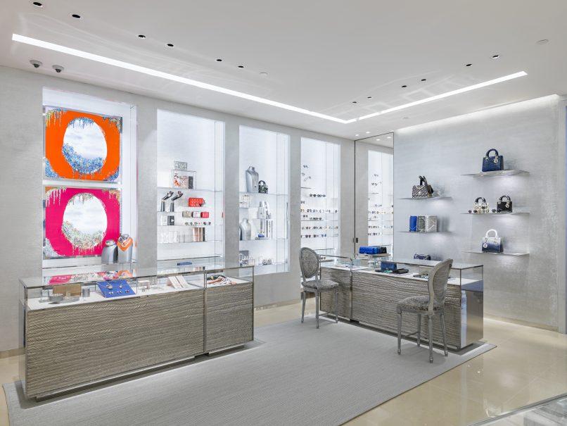 The handbag area in Dior's new Suria KLCC boutique.