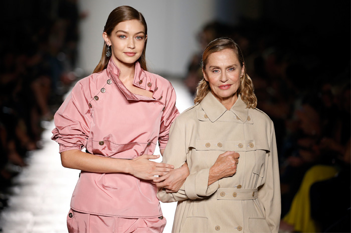 Lauren Hutton, aged 73, walked alongside Gigi Hadid at Bottega Veneta's 50th anniversary show last September.