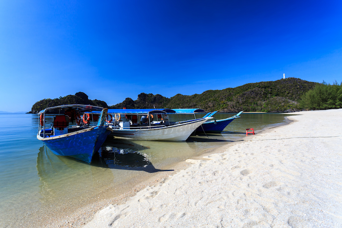 Local Traditional boats attTanjung Rhu Beach in Langkawi, Malaysia