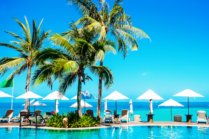 Tropical pool beside the sea, in Koh Samui