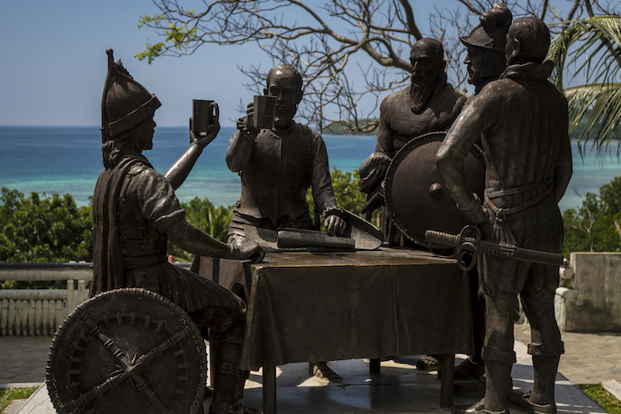 The monument commemorating the blood compact in Tagbilaran, Bohol Island, Philippines. The sculpture was made by Napoleon Abueva and is located in Tagbilaran City, Bohol.