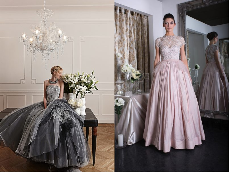 wedding gowns - silvers and blushes
