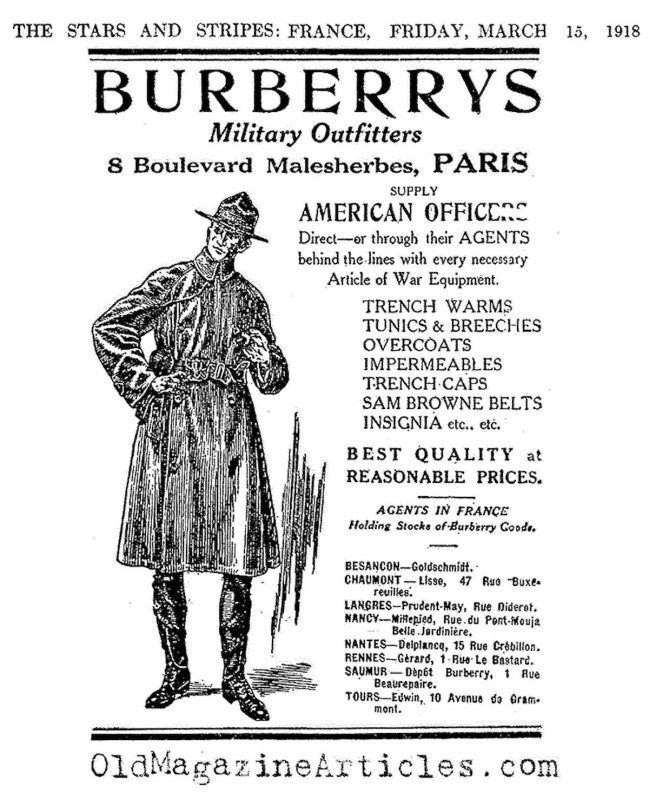 burberry trench coat wwi