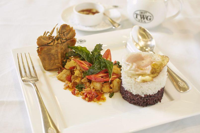 Lobster phad gaprow, afternoon tea set at TWG Tea