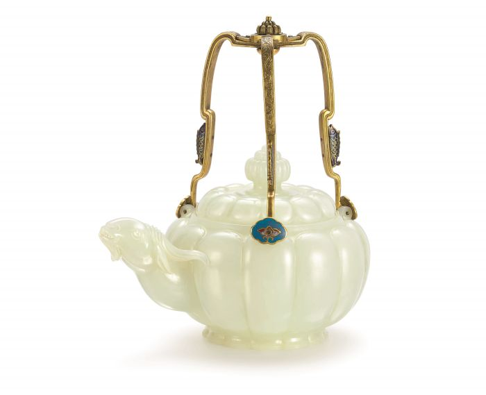 Sotheby's - A Rare and Important White Jade and Cloisonne Enamel Ram-Head Teapot And Cover