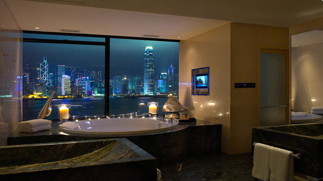View from the bathtub at Presidential Suite at the Intercontinental Hong Kong