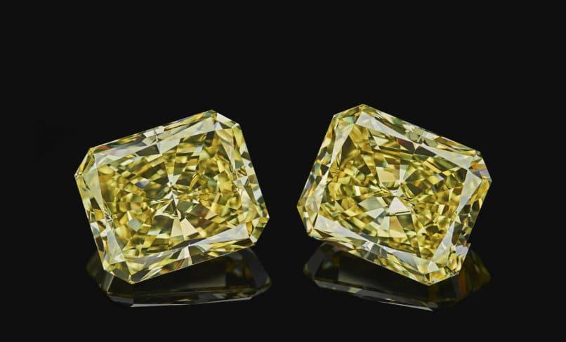 Set of two emerald cut shape diamonds.