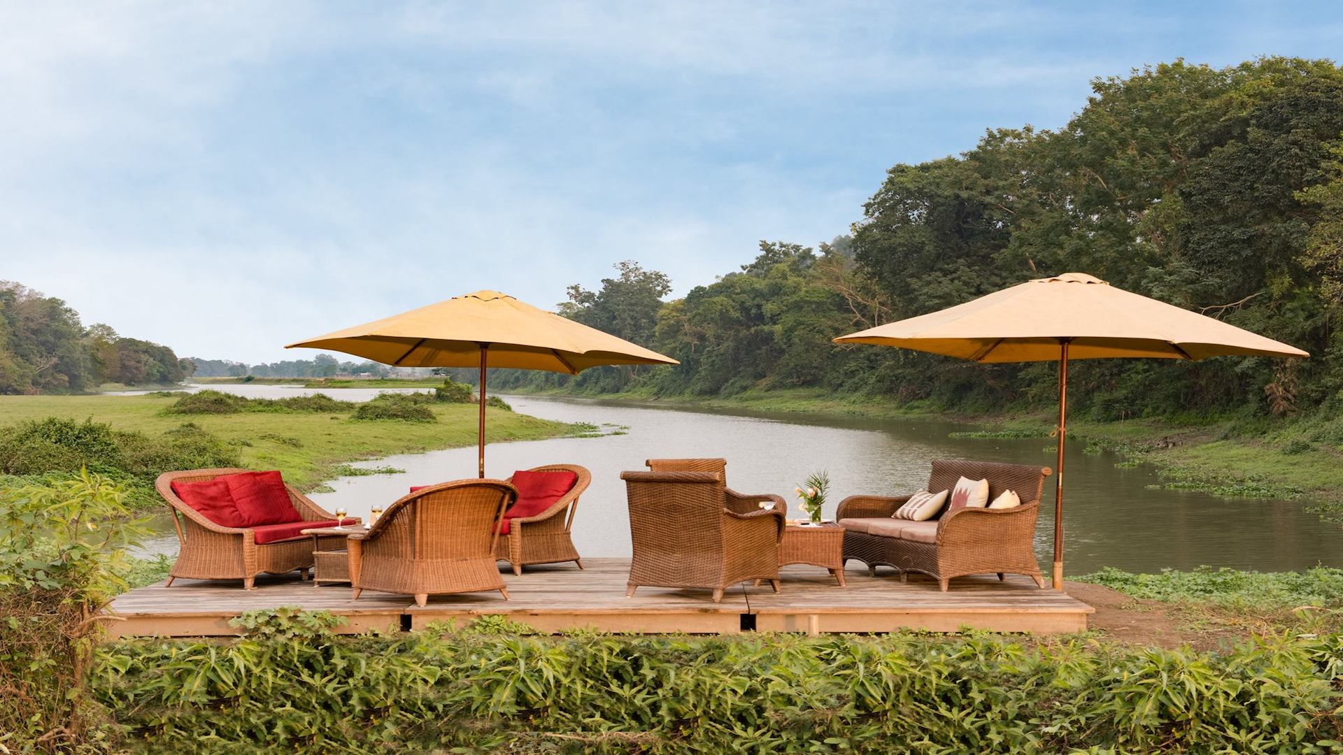 Outdoor dining at Diphlu River Lodge, Assam