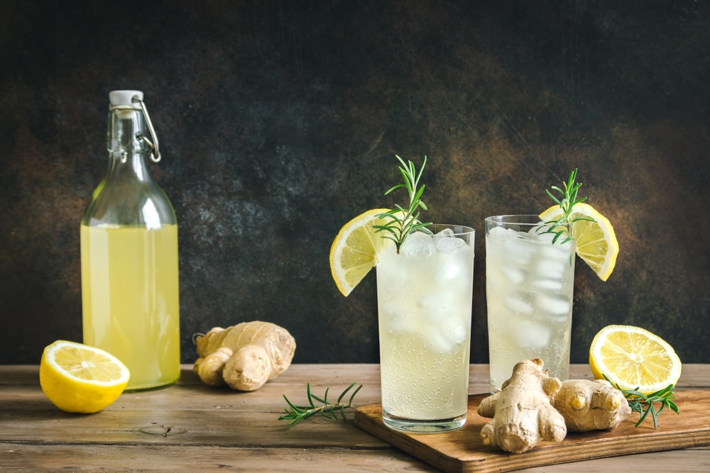 Kombucha with ginger and lime.