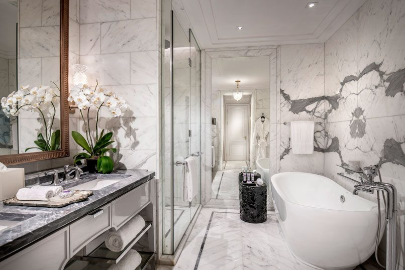 The spa-like bathrooms are one of many luxurious touches.