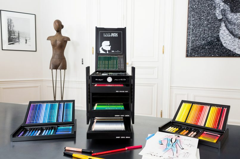 The gorgeous layout of the art supplies in the Karlbox.