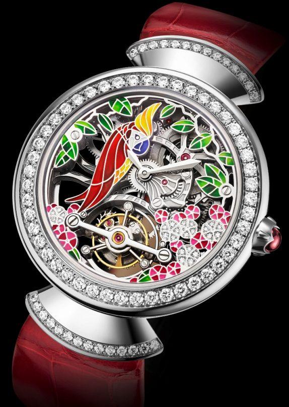 The Diva's Dream Tourbillon Skeleton watch with red alligator strap.