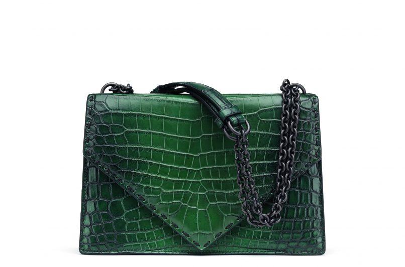Bottega Veneta Bottle Crocodile Shoulder Bag in Dark Pacific Nero