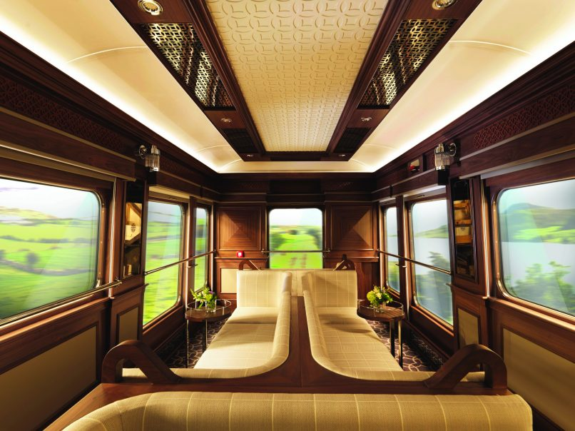 Take in the view while making new acquaintances in this beautiful observation carriage.
