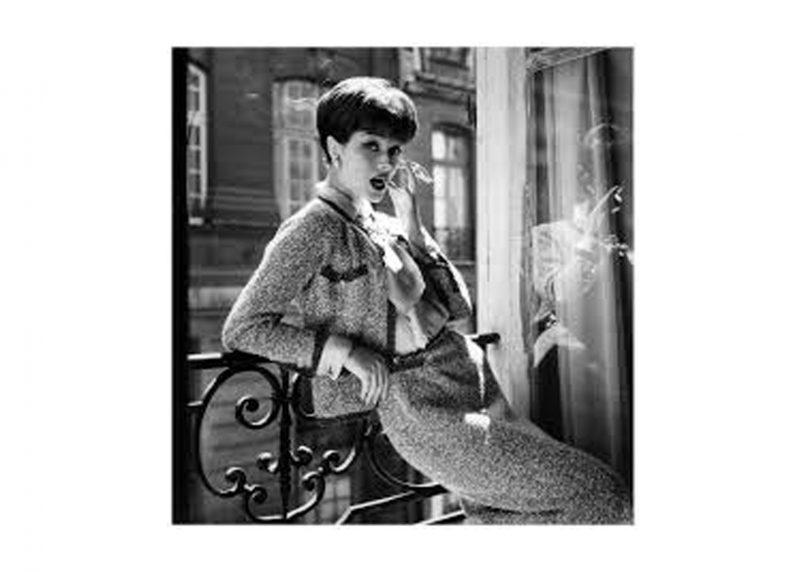 Marie-Helene Arnaud in a tweed Chanel ensemble