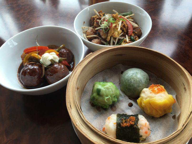 L-R: Black Angus beef meatballs, wok-fried carrot cake and assorted dim sum.