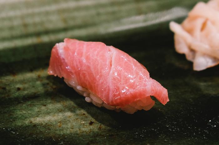 Fatty tuna (otoro) sushi in chef's recommend sushi course