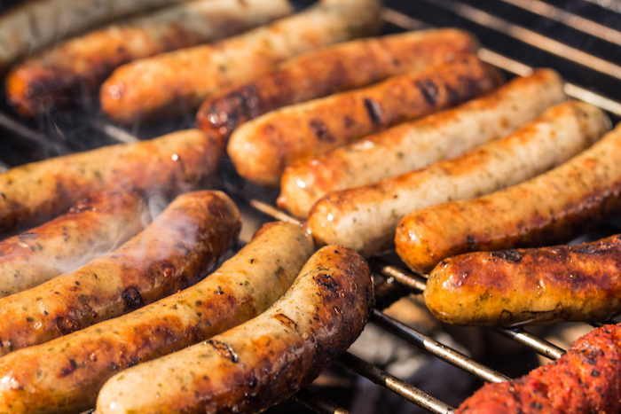 barbecue in Germany with sausages, steaks and potatoe salad
