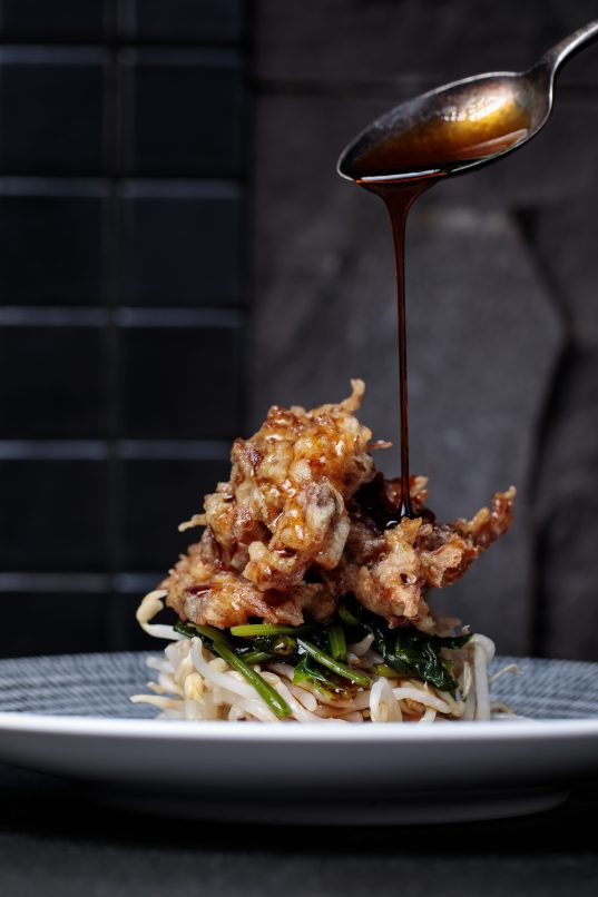tatsu japanese cuisine-Crispy Duck Confit on Sprouts and Japanese Spinach, with Sesame Vinaigrette