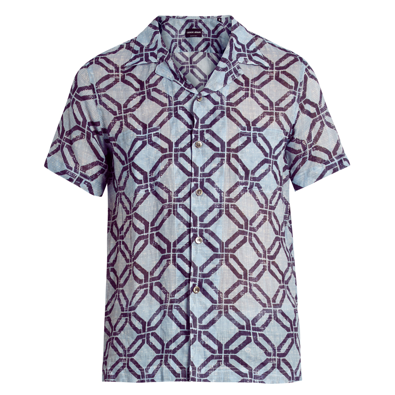 a6809052 Summer prints don't need to be limited to birds and florals — this shirt by  Giorgio Armani features bold Caribbean-inspired geometric prints over  washed-out ...