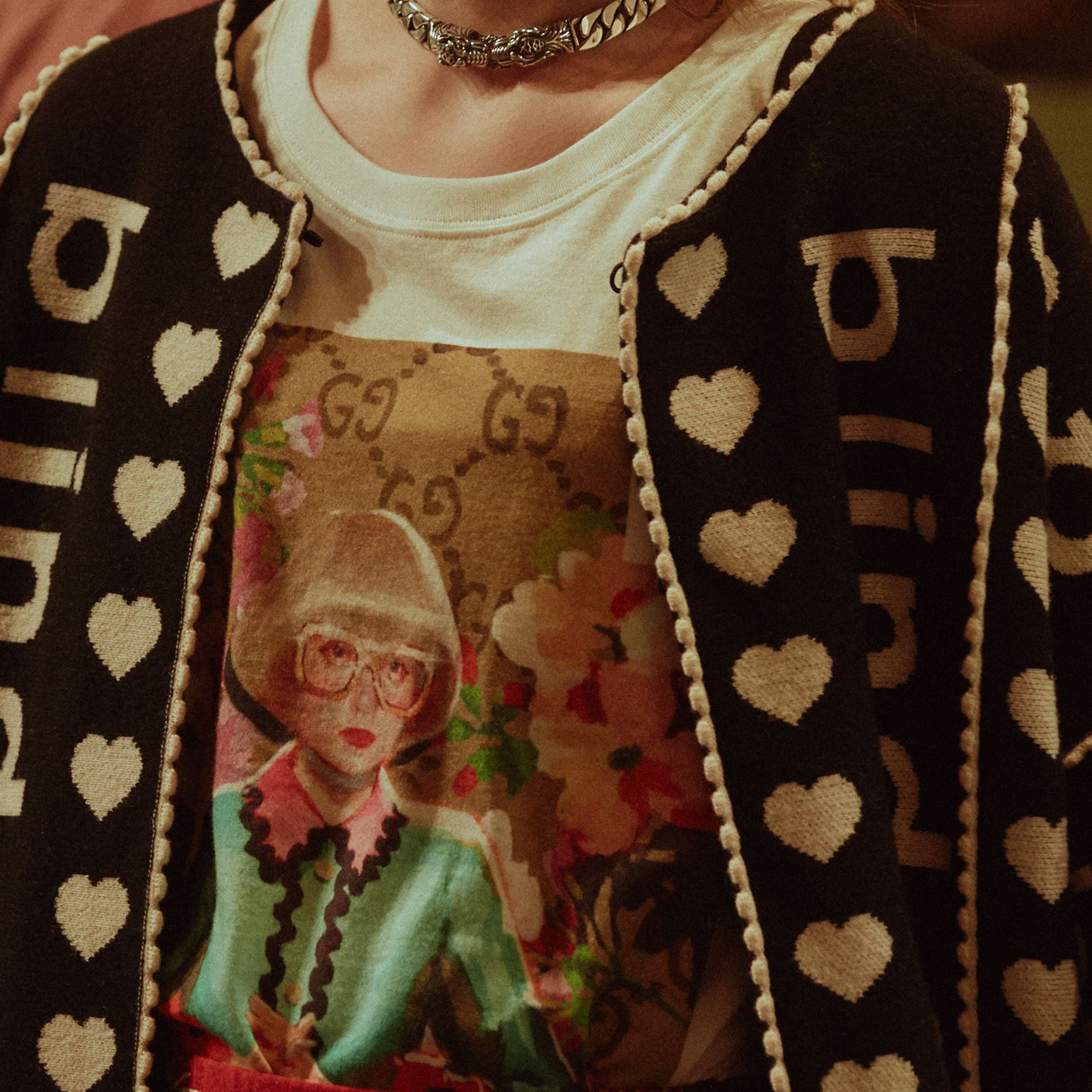 """dee4b6069ad36d Spotted: Complimenting the """"Blind for Love"""" jacquard jacket and a T-shirt  featuring Ignasi Monreal's illustration is Michele's attempt to breathe a  new ..."""