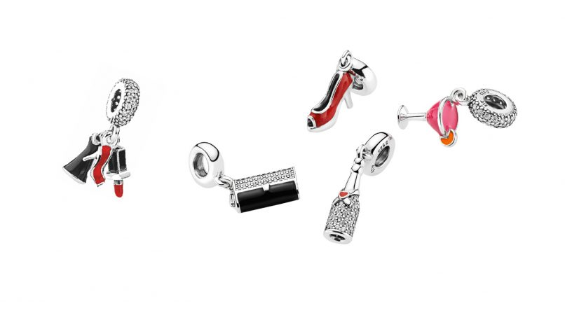 ad54be5e2 From left to right: 'Glamour Trio' pendant charm, S$89; Clutch Bag Pendant  Charm, S$89; Stiletto silver dangle with red enamel, S$69; Celebration Time  ...