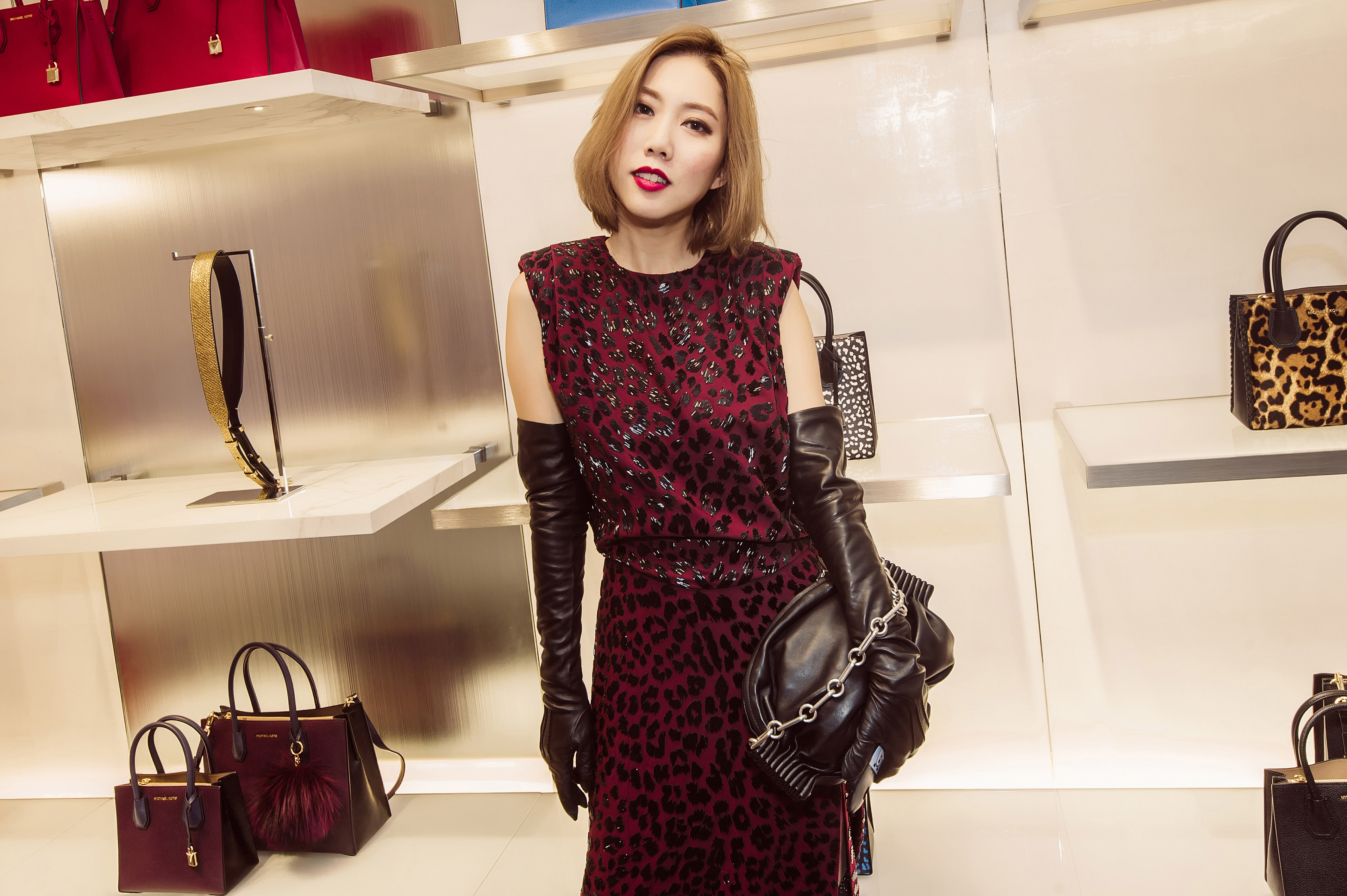 Best Dressed In Hong Kong October 2017 Lifestyle Asia Luggage Tag Hk Love Pink A Leopard Pattern Doesnt Always Have To Be Brown And Black Switch It Up With Dress That Comes Rich Burgundy Shade Like The One Faye Is Wearing