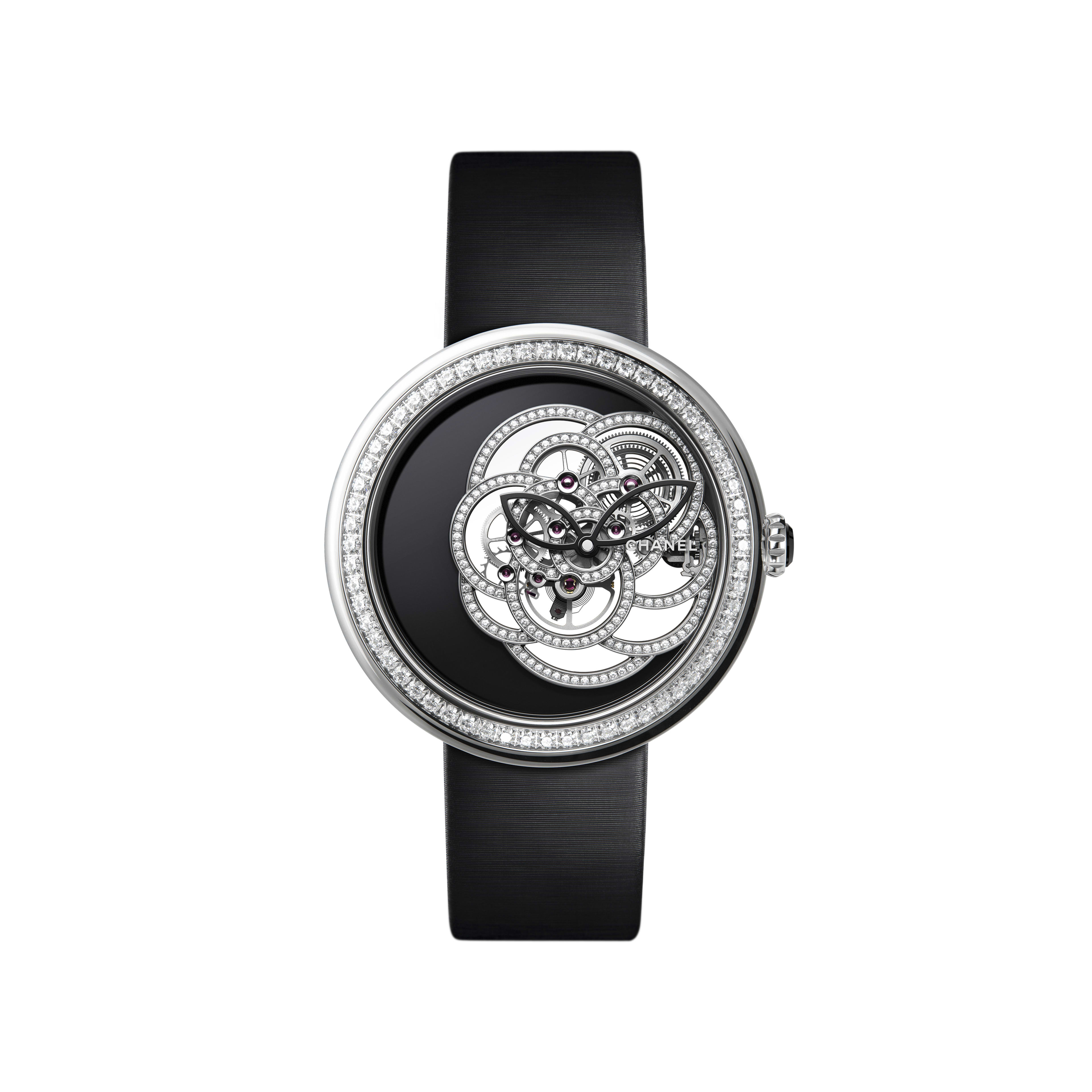 Chanel Mademoiselle Prive Camelia with a black onyx dial
