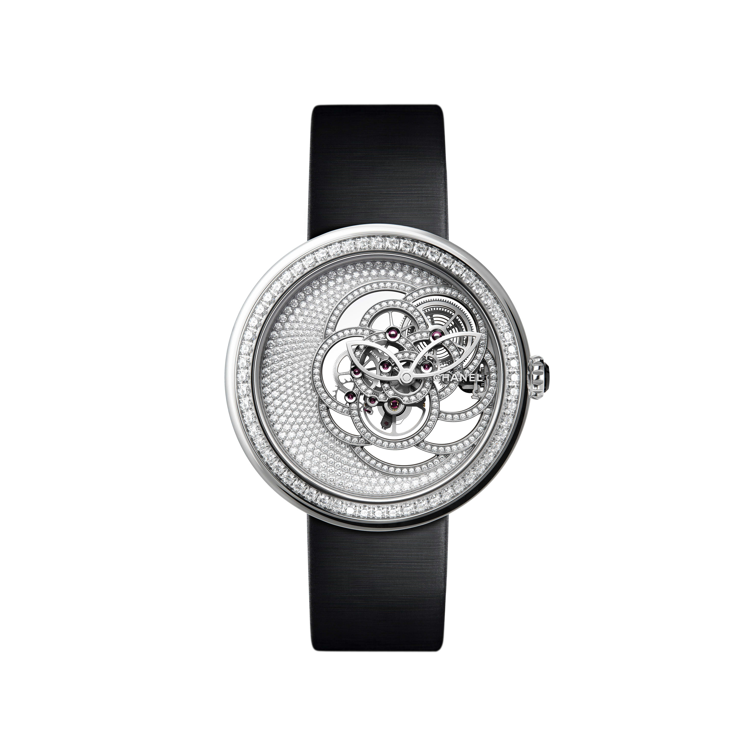 Chanel Mademoiselle Prive Camelia with a fully paved dial
