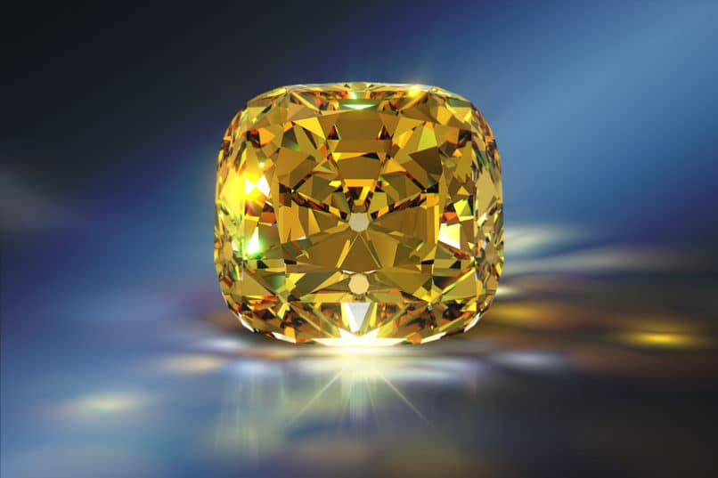 Sparkling cushion-cut Tiffany Yellow diamond