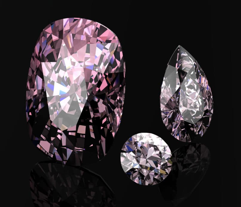 Pink diamonds in different shapes.