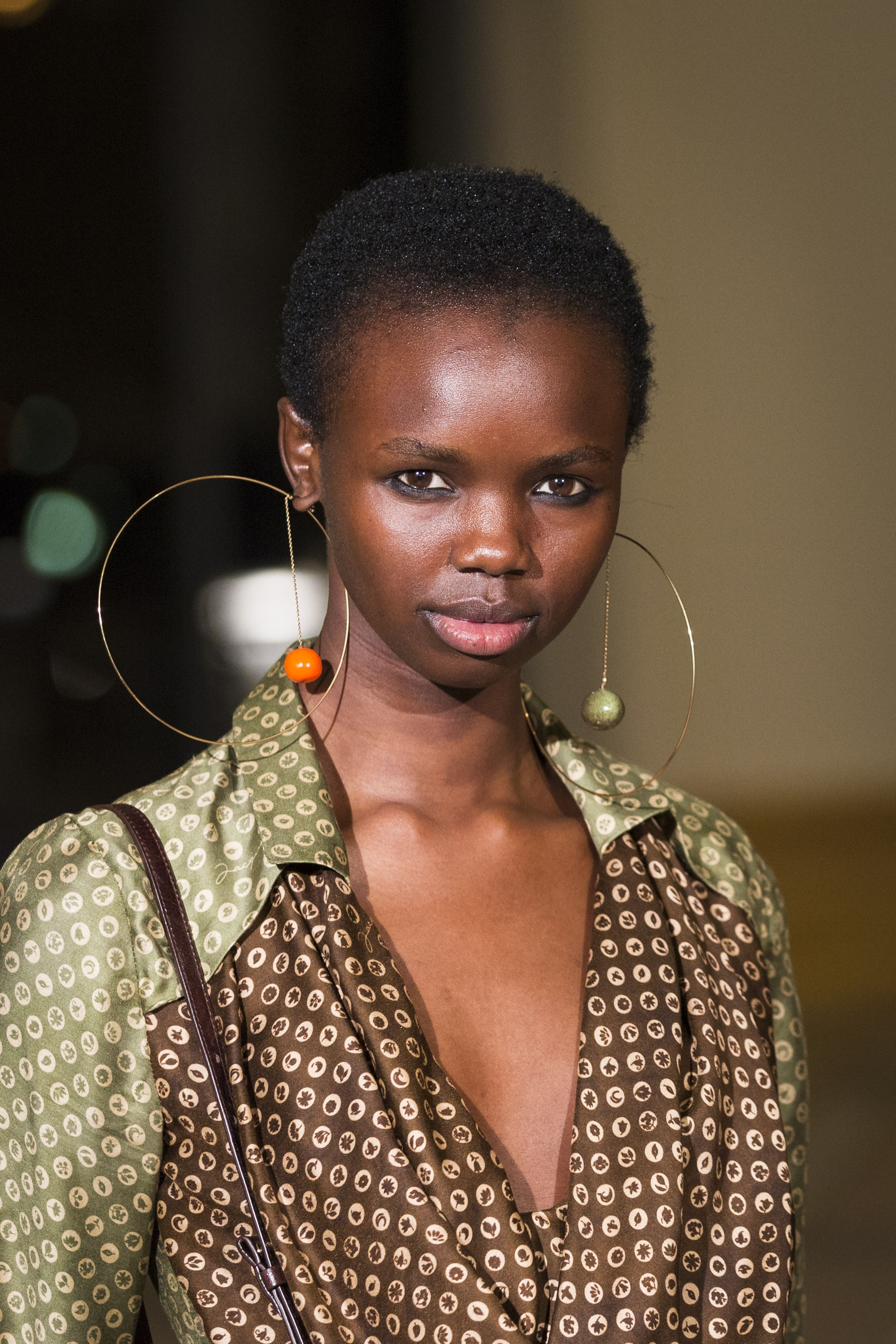 Gold hoops at Jacquemus Fall/Winter 2018/19 show. Image: Courtesy Richard Bord/WireImage