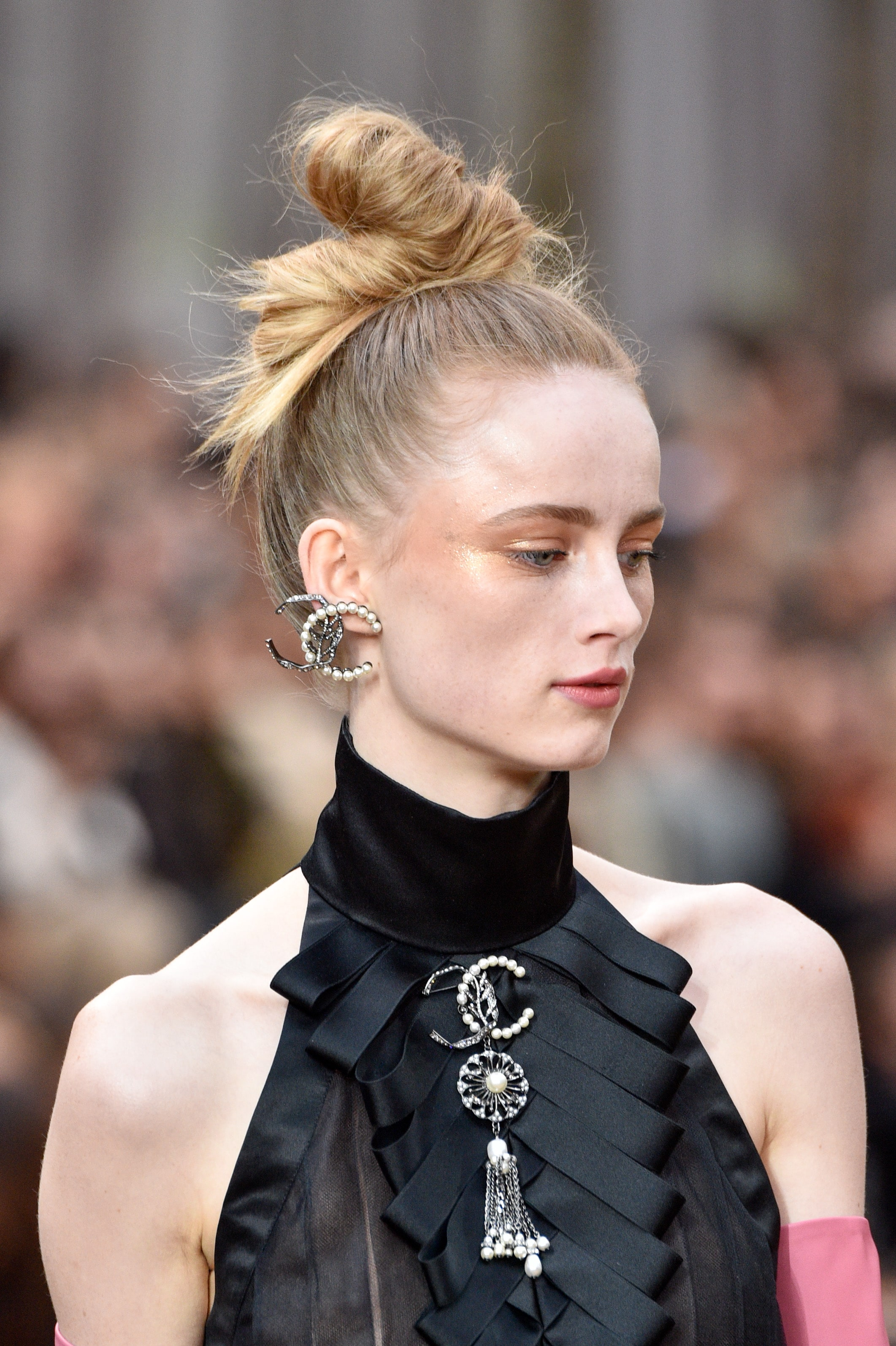 90's inspired logo earrings at Chanel. Image: Courtesy Peter White/Getty Images