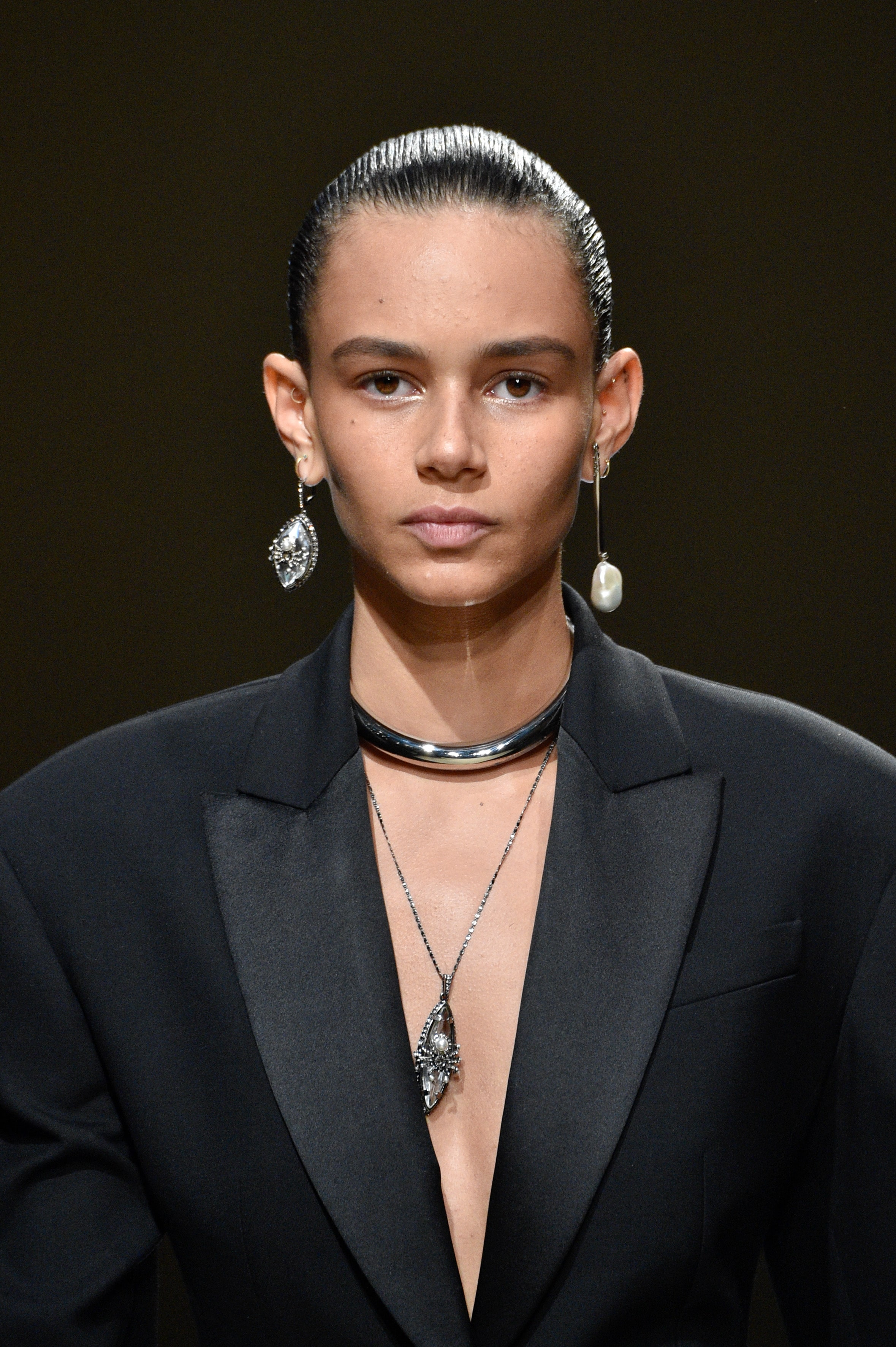 Binx Walton pairing metal and pearl at Alexander McQueen. Image: Courtesy Peter White/Getty Images