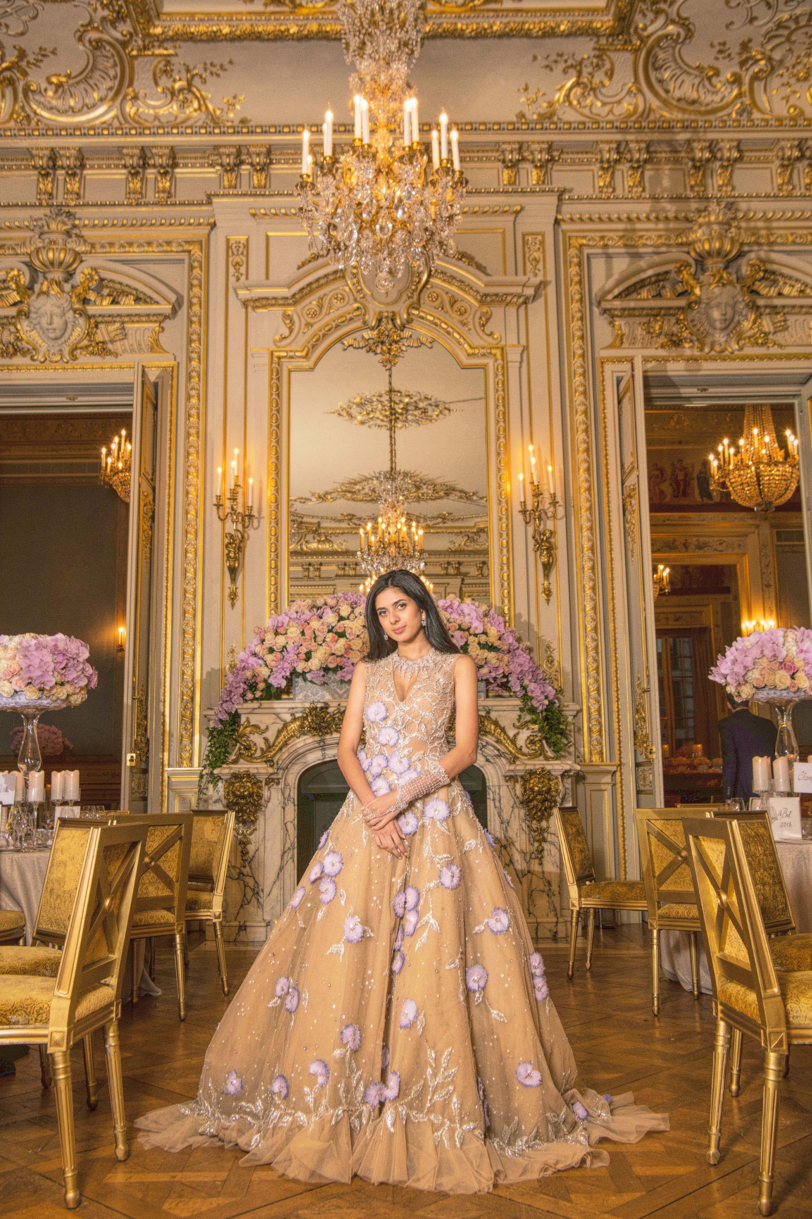 Aria Mehta in Georges Hobeika Couture and jewellery by Payal New York. Images: Courtesy Yunling Fang