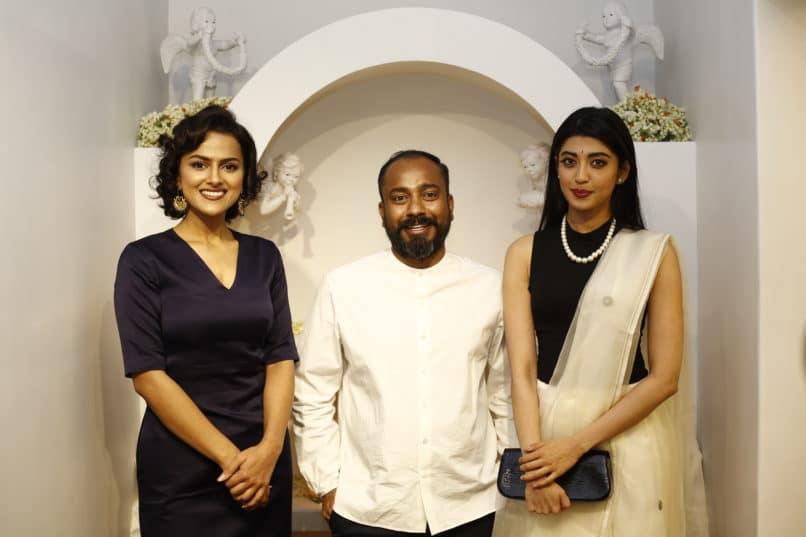 Designer Sanjay Garg with Sharddha Srinath and Pranitha Subhash