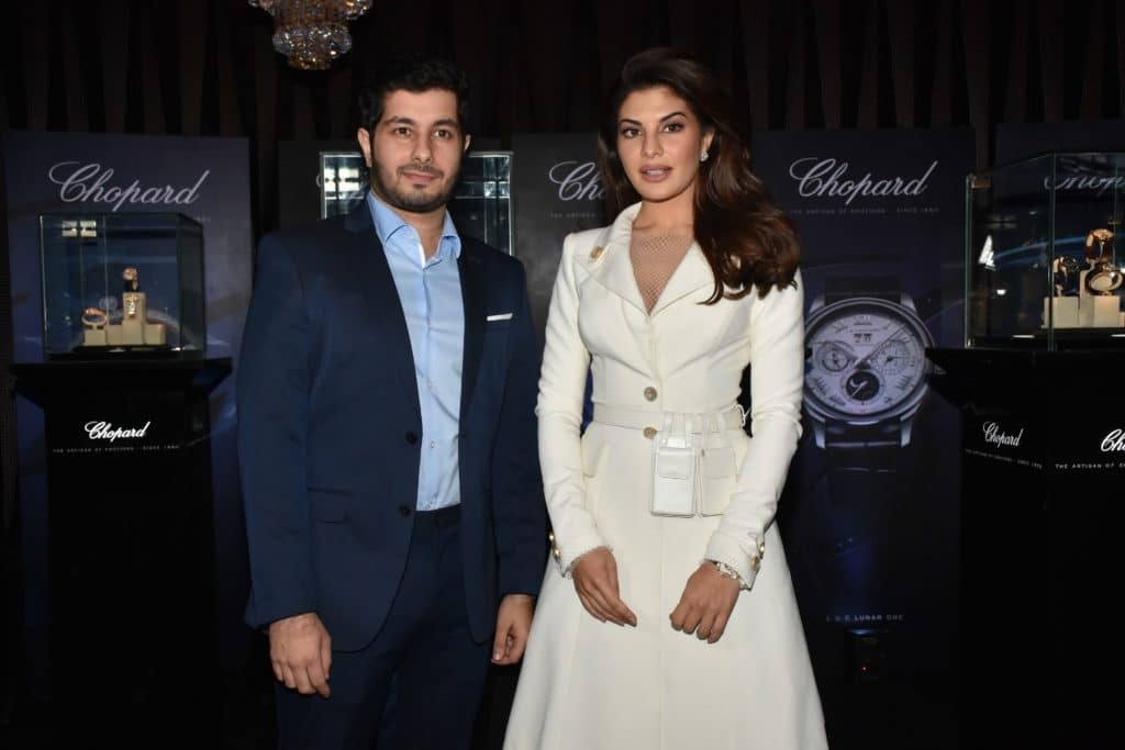 Mr Ali Kochra CEO of Timekeepers India and Jacquline Fernandez at TimekeepersXChopard event