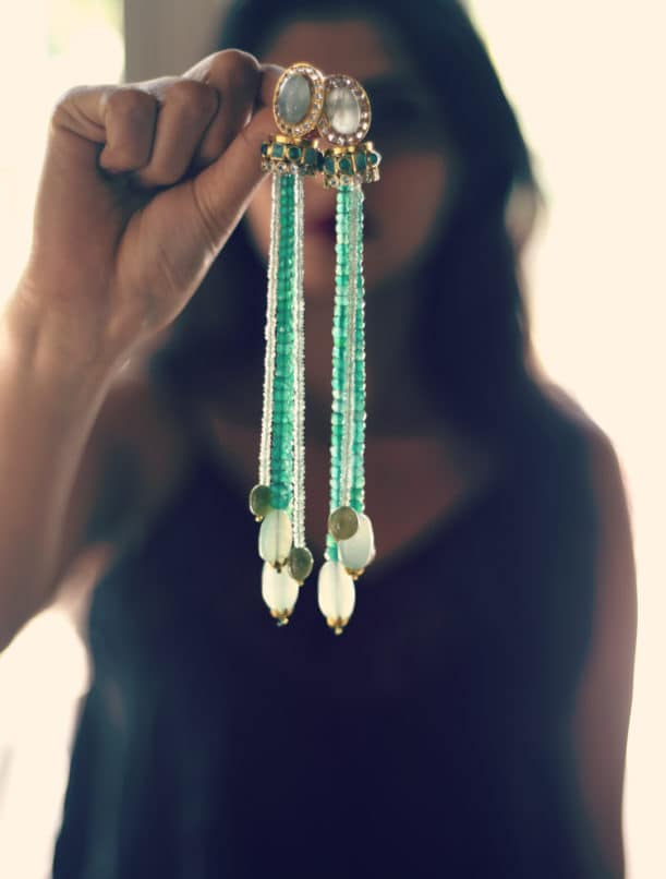 Image:Courtesy The Beryl Shoulder Dusters with Emeralds and aquamarine Swapnanjali Jewellery Studio